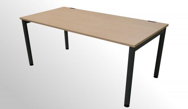 Gebrauchter Steelcase 4-Fuß Arbeitstisch - Ahorn Dekor/Anthrazit