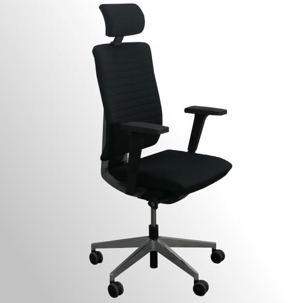 Hochwertiger Design-Bürodrehstuhl mit gestepptem Stoffpolster und Kopfstütze