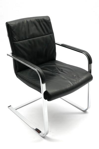Gebrauchter Besucher- und Konferenzstuhl - Leder schwarz