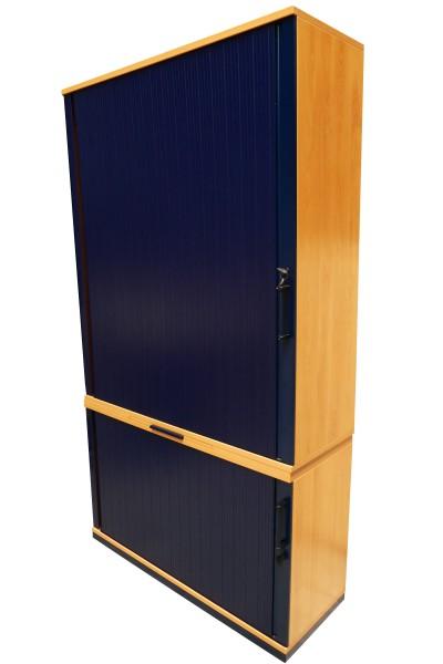 Günstiger, gebrauchter Werndl Rollladenschrank - 2-teilig - Buche Dekor/Blau