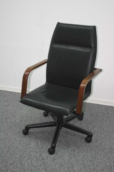 Günstiger, gebrauchter Bürodrehstuhl - Chefsessel - Leder schwarz