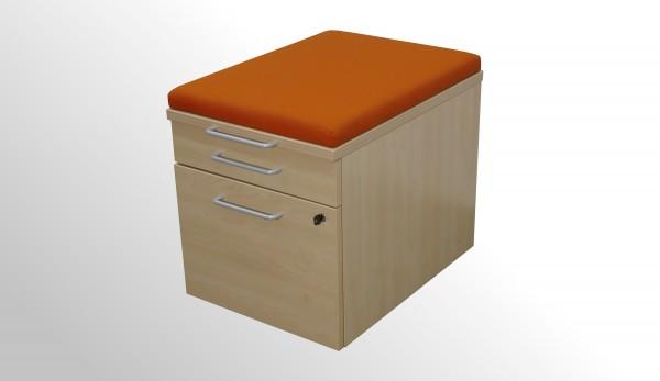Gebrauchter Steelcase Rollcontainer mit Sitzpolster - Stoff orange