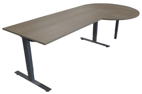 Günstiger Schreibtisch mit Besprechungsanbau - Akazie Dekor