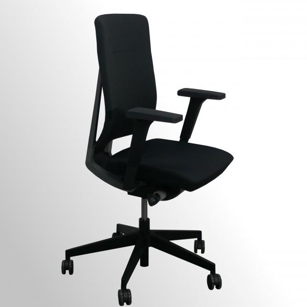 Günstiger Bürodrehstuhl mit Armlehnen - Stoff schwarz