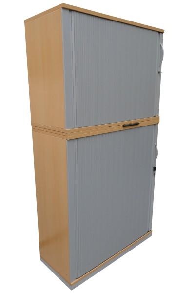 Gebrauchter Steelcase Rollladenschrank - 2-teilig - Ahorn Dekor