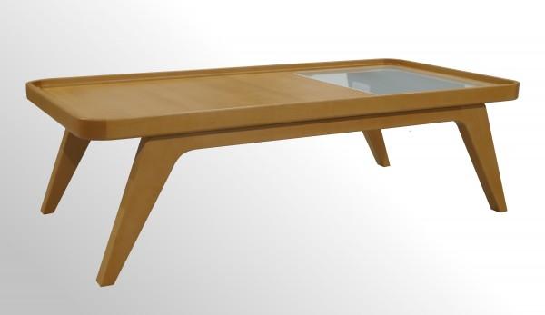 Günstiger Profim October Echtholz Beistelltisch - Loungetisch mit Milchglasplatte
