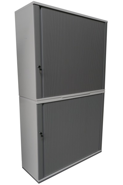 Gebrauchter König + Neurath Rollladenschrank - weiß/aluminiumfarben - insg. 6 OH