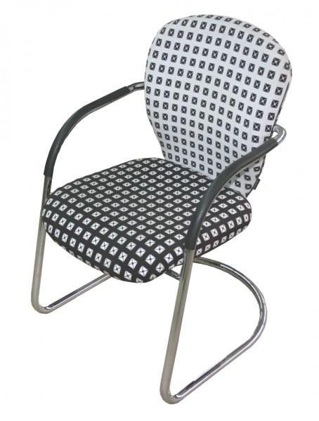 Gebrauchter Besucherstuhl von Dauphin - weiß /schwarz - Setpreis für 2 Stühle!