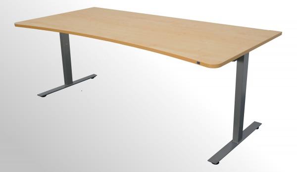 Günstiger, hochwertiger Schreibtisch / Cockpittisch - Königsahorn Dekor/Aluminiumfarben