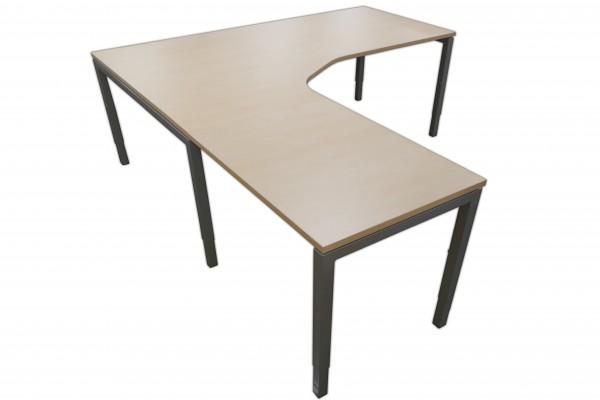 Günstige Schreibtisch-Winkelkombination - Eckschreibtisch - Ahorn Dekor/Aluminiumfarben