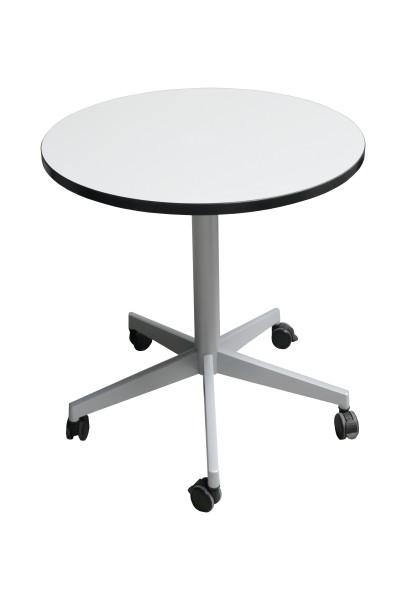 Günstiger Besprechungs- und Konferenztisch - Ø 800 - Weiß mit Umleimer schwarz